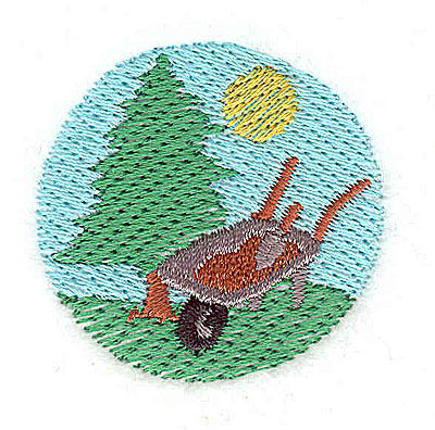 Embroidery Design: Scene with wheelbarrow 1.56w X 1.50h