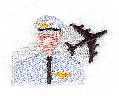 Embroidery Design: Pilot with airplane 1.50w X 1.06h