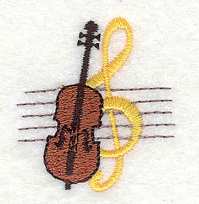 Embroidery Design: Violin with treble clef 1.38w X 1.50h
