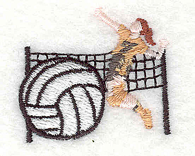 Embroidery Design: Volleyball player 1.38w X 1.19h