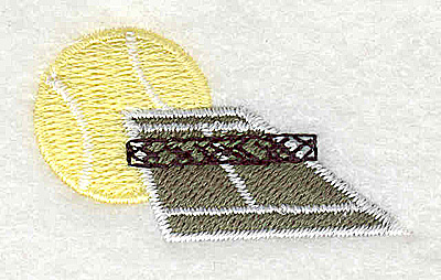 Embroidery Design: Tennis court with ball 1.75w X 1.00h