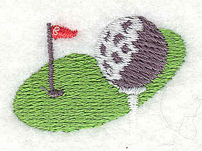 Embroidery Design: Golf green with ball and tee 1.38w X 1.13h