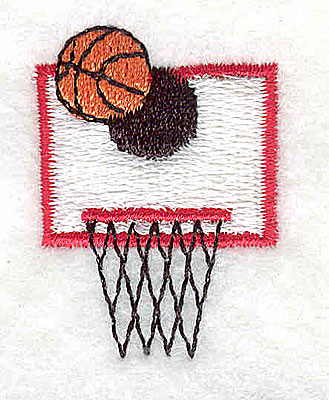 Embroidery Design: Baketball with hoop 1.06w X 1.50h