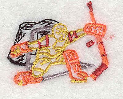 Embroidery Design: Hockey goalie in net 1.50w X 1.25h