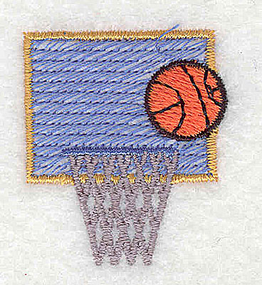 Embroidery Design: Basketball hoop and backboard 1.25w X 1.44h