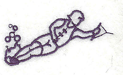 Embroidery Design: Water skier 2.13w X 1.13h