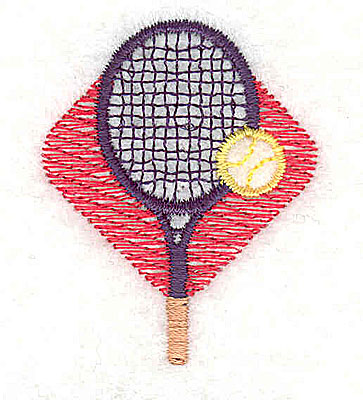 Embroidery Design: Tennis racquet with ball 1.31w X 1.63h