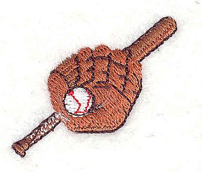 Embroidery Design: Baseball mit, ball and bat 1.44w X 1.19h