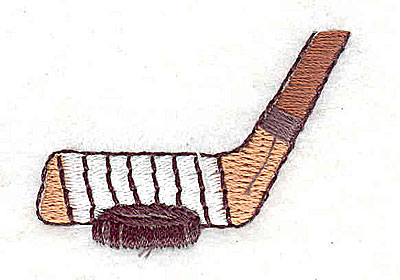 Embroidery Design: Hockey stick with puck 1.50w X 1.06h