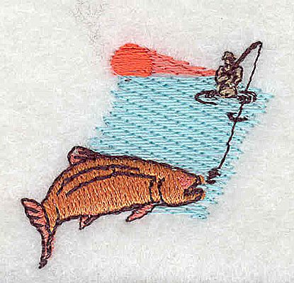 Embroidery Design: Fishing 1.50w X 1.38h