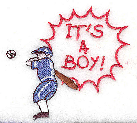 Embroidery Design: It's a Boy baseball player 2.63w X 2.38h