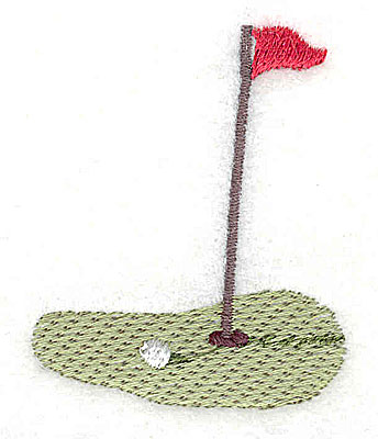 Embroidery Design: Golf green ball and flag 1.69w X 2.06h
