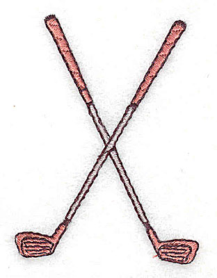 Embroidery Design: Crossed golf clubs 1.88w X 2.44h
