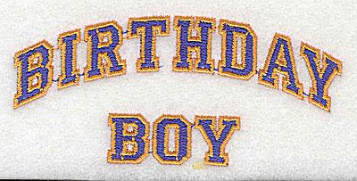 Embroidery Design: Birthday Boy 3.94w X 1.19h