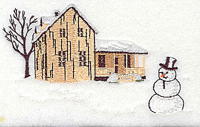 Embroidery Design: House with snowman large 4.56w X 2.75h