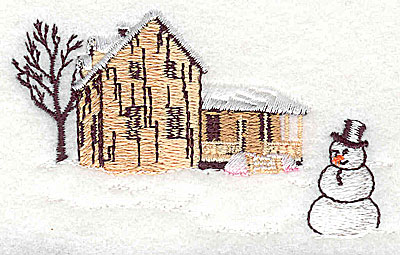 Embroidery Design: House with snowman small 3.25w X 1.94h