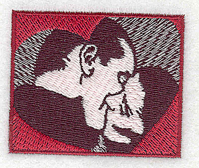 Embroidery Design: Couple kissing 2.25w X 1.88h