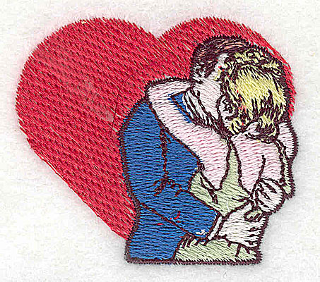 Embroidery Design: Couple kissing with heart 2.19w X 1.94h