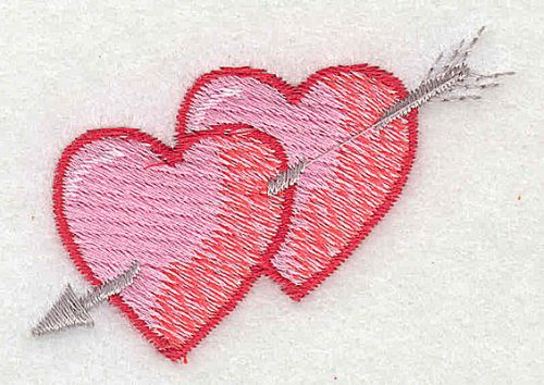 Embroidery Design: Two hearts with arrow 2.38w X 1.56h
