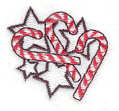 Embroidery Design: Candy canes with stars 1.56w X 1.44h