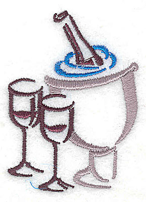Embroidery Design: Champagne bucket and glasses<br> 1.81w X 2.44h