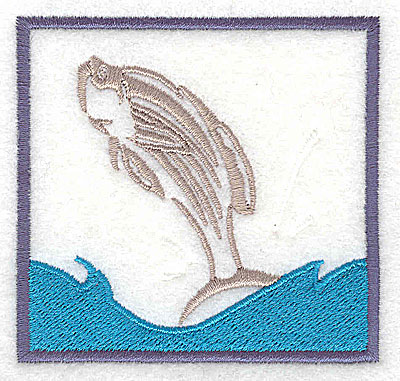 Embroidery Design: Leaping fish 2.88w X 2.75h