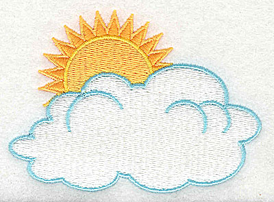 Embroidery Design: Sun and clouds 3.38w X 2.44h