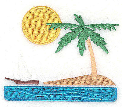 Embroidery Design: Island beach scene 2.94w X 2.44h