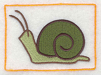 Embroidery Design: Snail with border 3.50w X 2.55h
