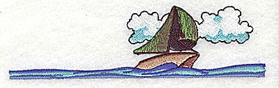 Embroidery Design: Sailboat at sea 4.56w X 1.25h