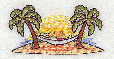 Embroidery Design: Hammock between palm trees 2.38w X 1.19h