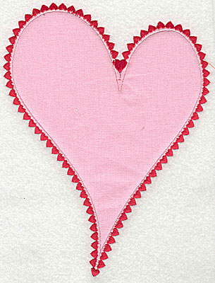 Embroidery Design: Heart applique 5.56w X 7.31h
