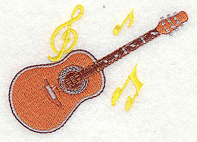 Embroidery Design: Guitar with musical notes 2.94w X 2.13h
