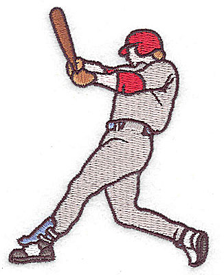 Embroidery Design: Baseball player 2.50w X 3.31h