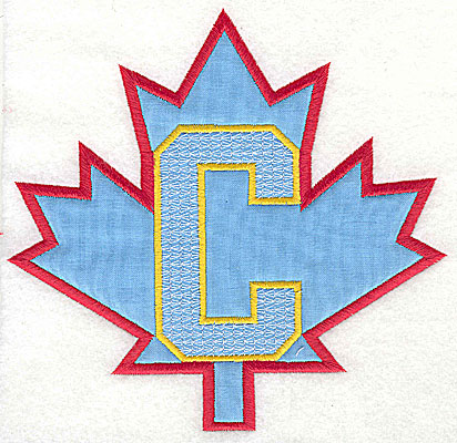 Embroidery Design: Maple leaf applique with C 6.56w X 6.38h