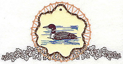 Embroidery Design: Loon on applique with leaves 7.81w X 3.94h
