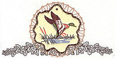 Embroidery Design: Duck on applique with leaves 7.81w X 3.94h