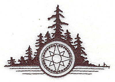 Embroidery Design: Compass with tree scene 3.13w X 2.25h