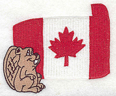 Embroidery Design: Canada flag with beaver 4.00w X 3.38h