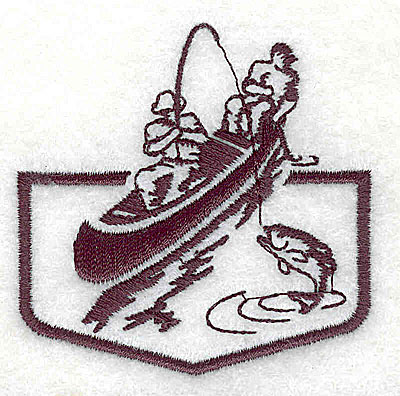 Embroidery Design: Fishermen in boat 2.31w X 2.31h