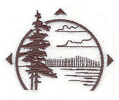 Embroidery Design: Forest scene with compas points2.69w X 2.06h