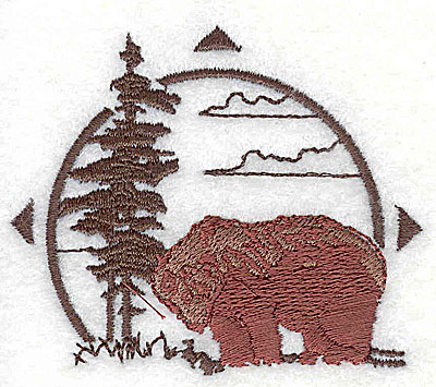 Embroidery Design: Forest scene with bear 2.69w X 2.31h