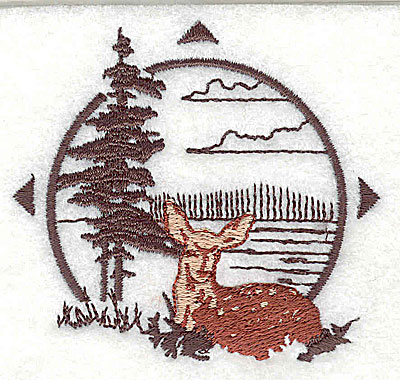 Embroidery Design: Forest scene with deer 2.69w X 2.50h