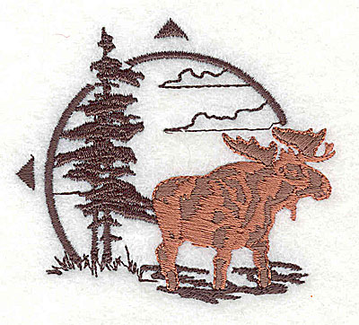 Embroidery Design: Forest scene with moose 2.75w X 2.44h