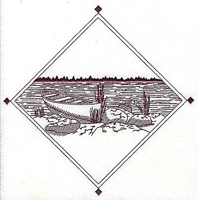 Embroidery Design: Canoe on lake scene 7.81w X 7.75h
