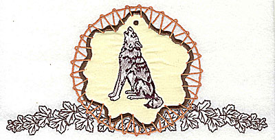 Embroidery Design: Howling wolf in dream catcher applique 7.81w X 3.94h