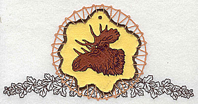 Embroidery Design: Moose in dream catcher applique  7.81w X 3.94h