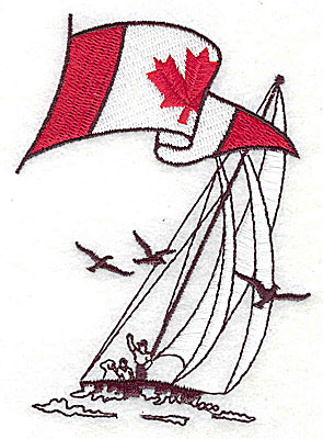 Embroidery Design: Sailboat with Canadian flag 2.88w X 3.88h