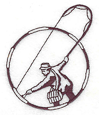 Embroidery Design: Fly fisherman single color 2.19w X 2.75h