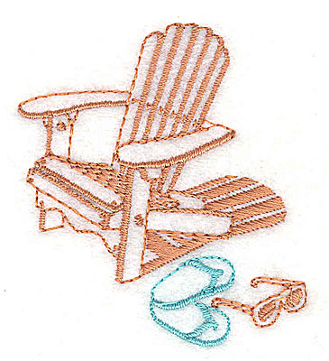 Embroidery Design: Adirondack chair with flip flops  2.13w X 2.44h